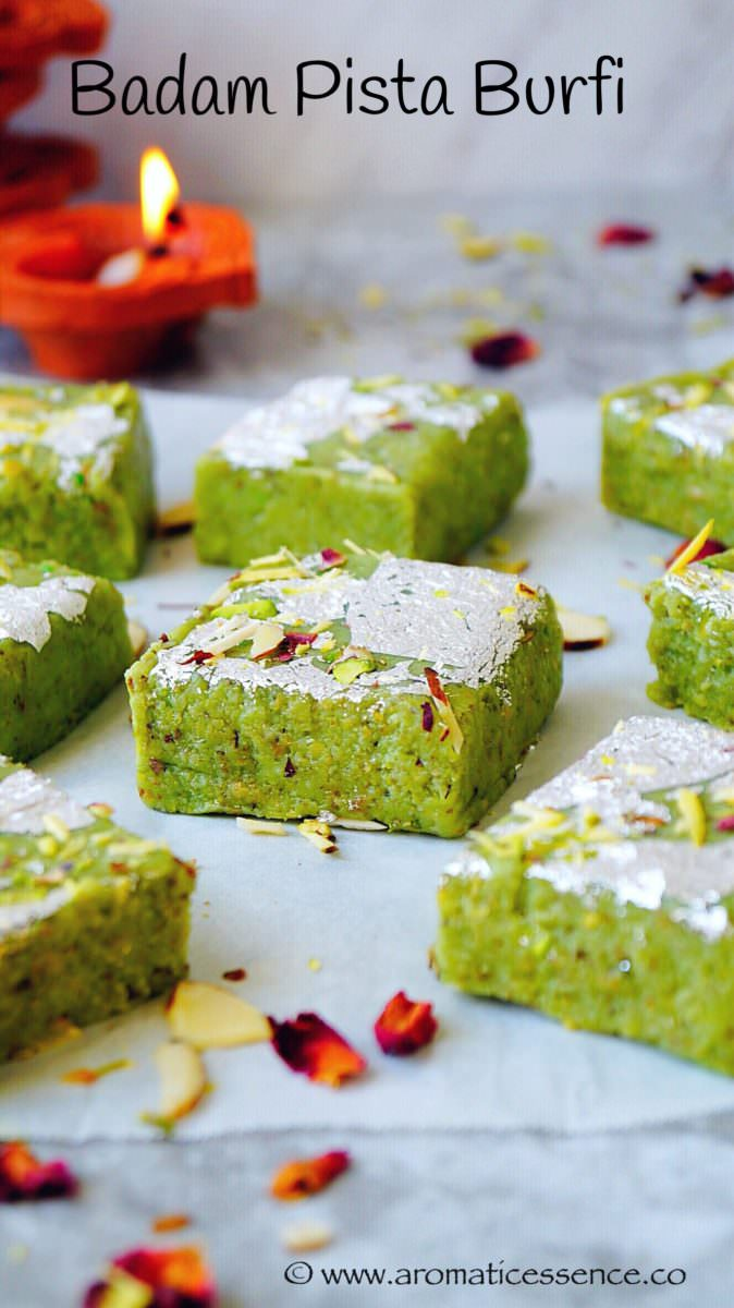 Badam pista burfi ( Almond and pistachio fudge)