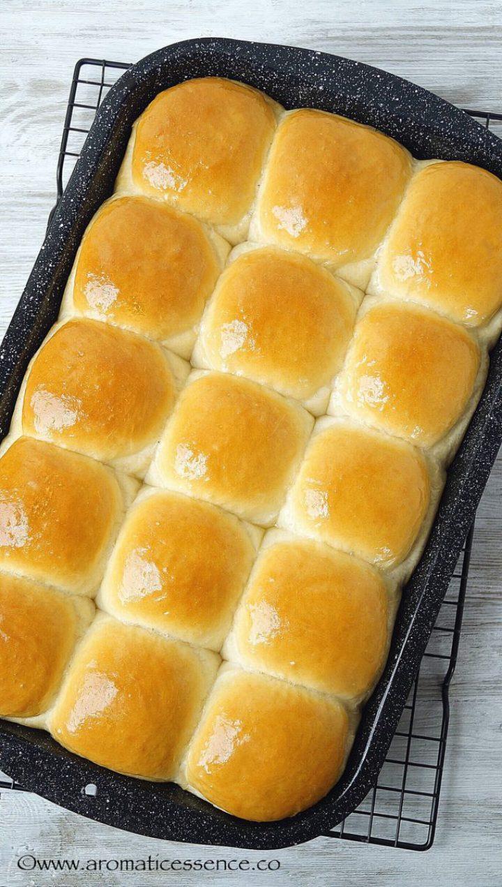 Freshly baked pav bread in a 9x13 baking tray