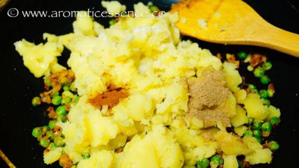 add salt, amchur powder, and garam masala.
