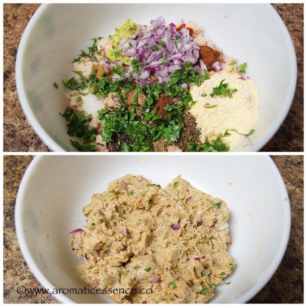 add finely chopped onions, breadcrumbs, cilantro, and mint leaves.