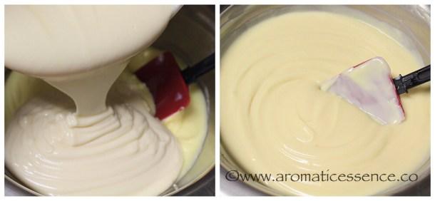 Add the cream cheese-condensed milk mixture to the puddingmixture