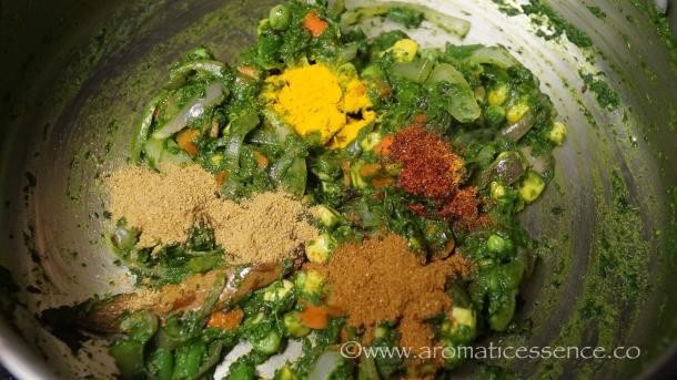 red chilli powder, garam masala, coriander powder, and turmeric powder