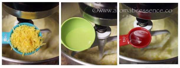 addition of lemon zest, lemon juice, and vanilla extract