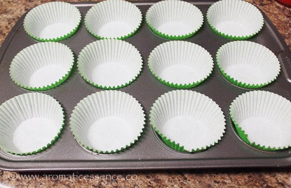 line the muffin tin with cupcake liners