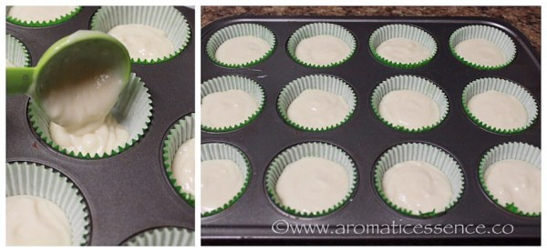 transfer batter into prepare muffin tin with liners
