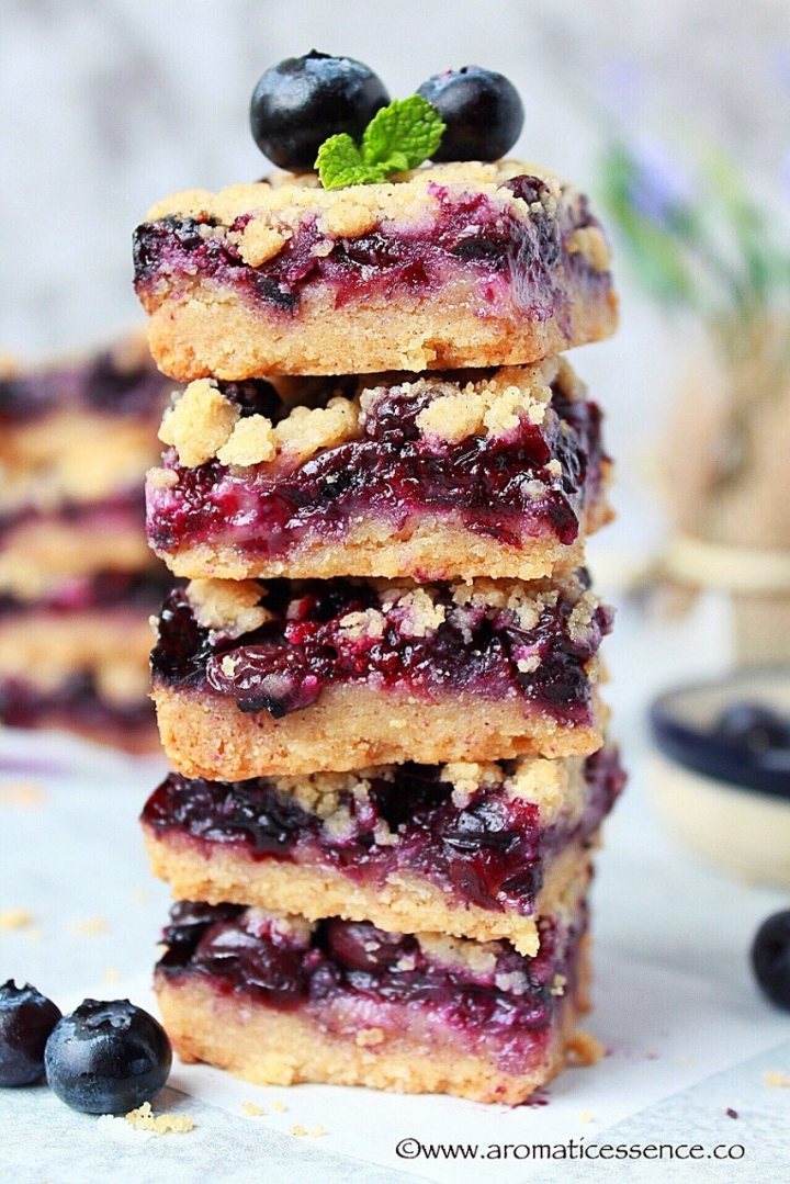Close up shot of Blueberry Crumb Bars