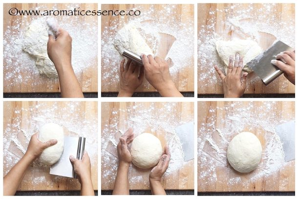 Shaping the dough for no knead bread.