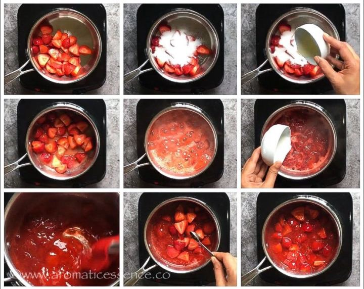 step-by-step pictorial to make strawberry sauce with fresh strawberries