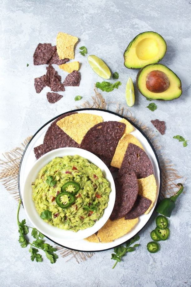 Guacamole served with tortilla chips