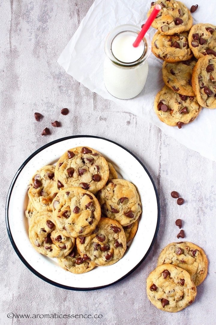 Chocolate chip cookies on a rimmed plate.