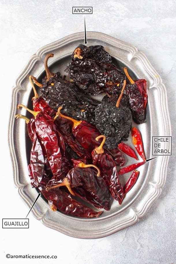 Dried Mexican chiles-guajillo, ancho and arbol in an oval pewter platter