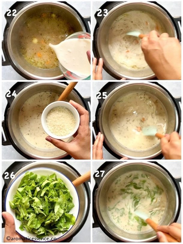 Add cream, parmesan cheese, and spinach