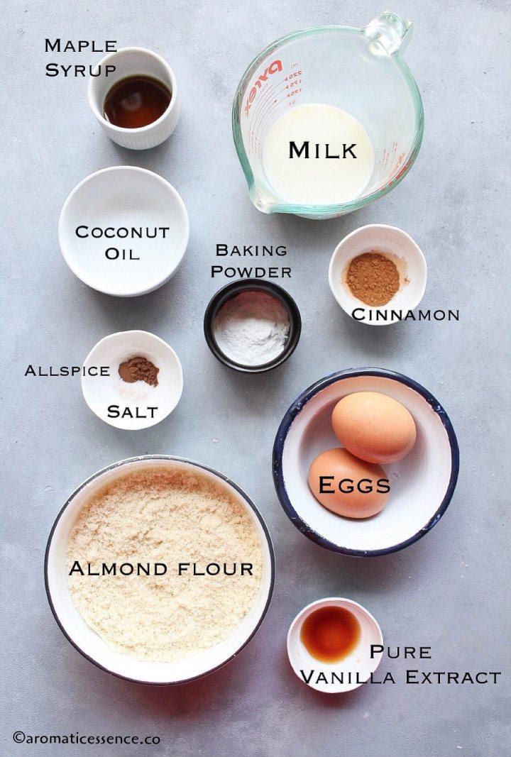 Ingredients for almond pancakes