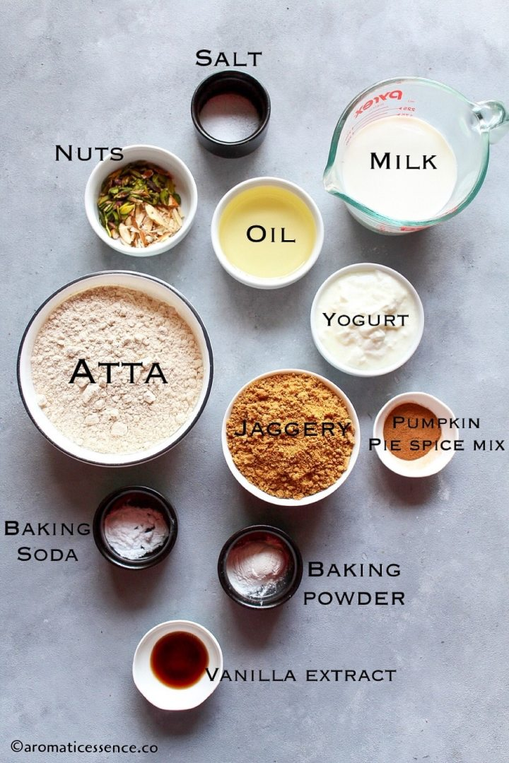 Pictorial of ingredients for eggless atta cake