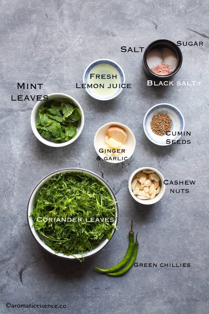 Ingredients for coriander mint chutney