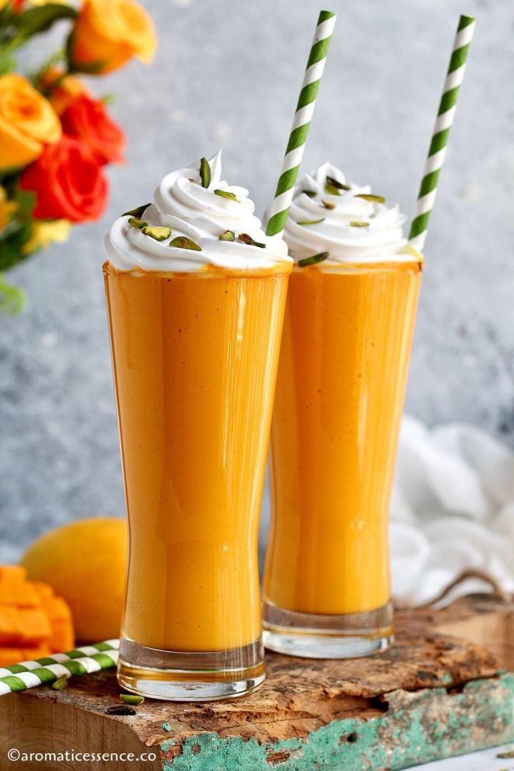 Close-up shot of mango flavored milkshake