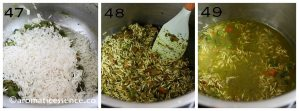 Saute rice with mint paste and veggies