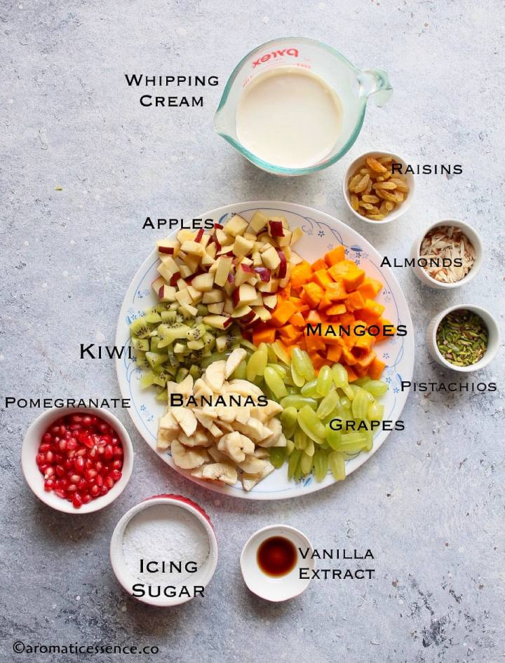 Pictorial of ingredients for fruit salad with cream