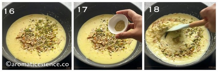 Chopped nuts and cardamom powder added to the kheer for flavor