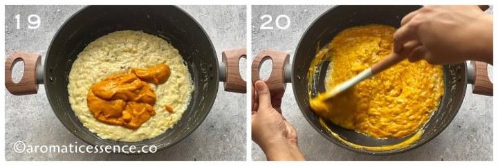 Fresh mango pulp added to room temperature kheer