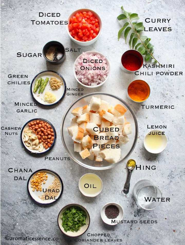 Ingredients needed for bread upma