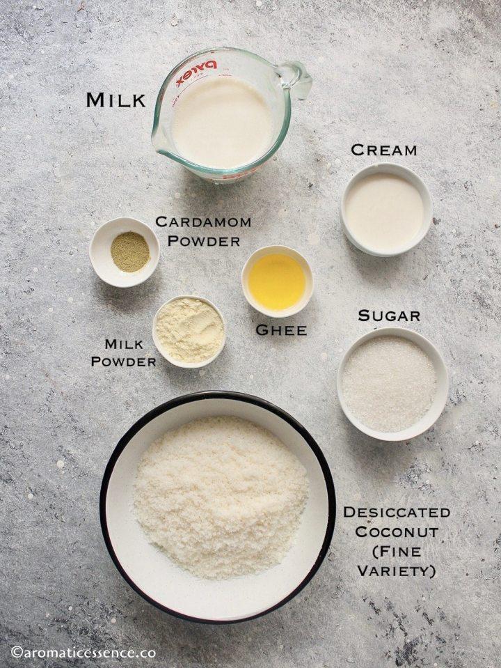 Ingredients needed to make nariyal ladoo