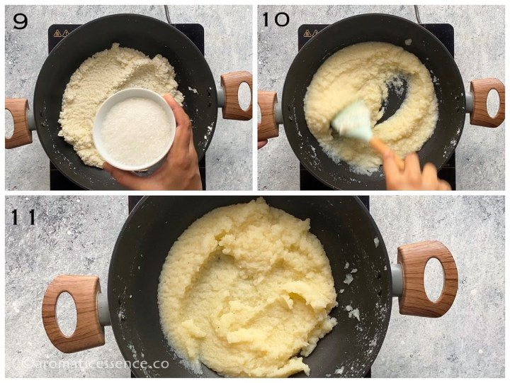 Sugar added to coconut-milk mixture