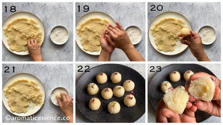 Shaping the coconut ladoos between palms and coating the ladoos with desiccated coconut
