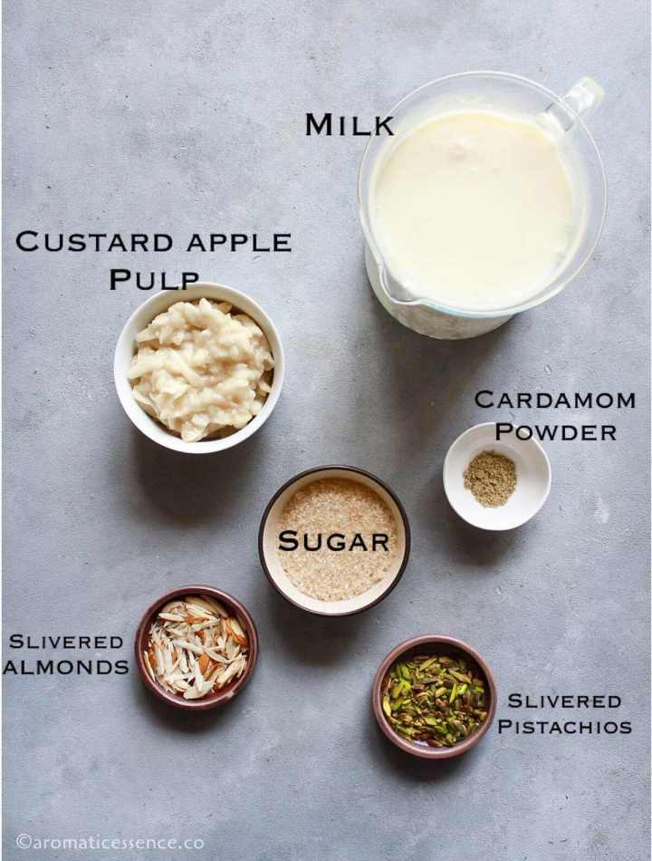 Ingredients needed for sitaphal basundi