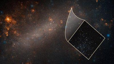Le grand nuage de Magellan avec un insert de gros plan Hubble.