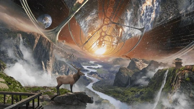 colonie spatiale remplie d'espèces sauvages
