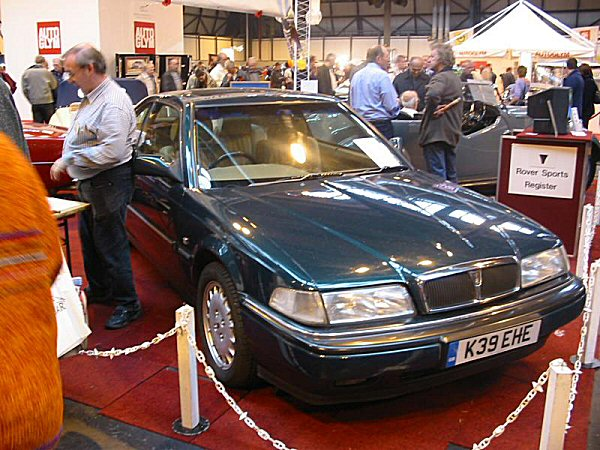 What have we here? Keith Adams' £500 Rover 800 Coupe sneaked in whilst no-one was looking, and hid itself amongst the exhibits on the Rover Sports Register stand. There was a good reason for this car to be here; mainly to attract new members to the club, who might be currently running Anglo-Japanese Rovers and feel - mistakenly - that the Register might not be for them... It seems to have been a success; as the future classic CoupŽ apears to have generated much interest.