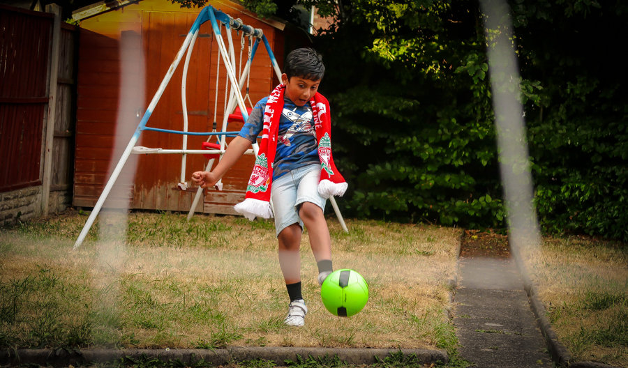 Shivam kicks the ball