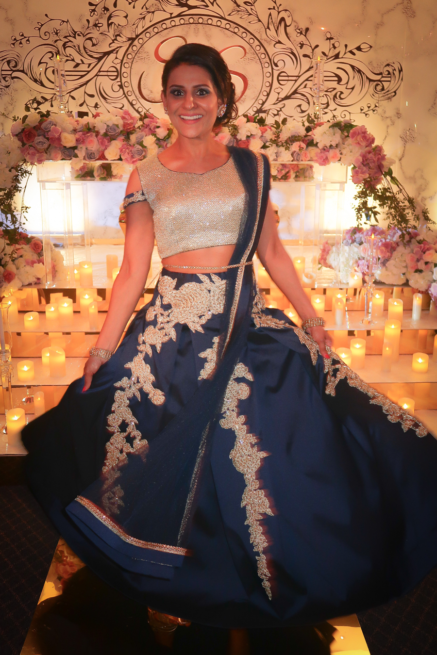 What I Wore - Blue & Champagne Lehnga on the Reception
