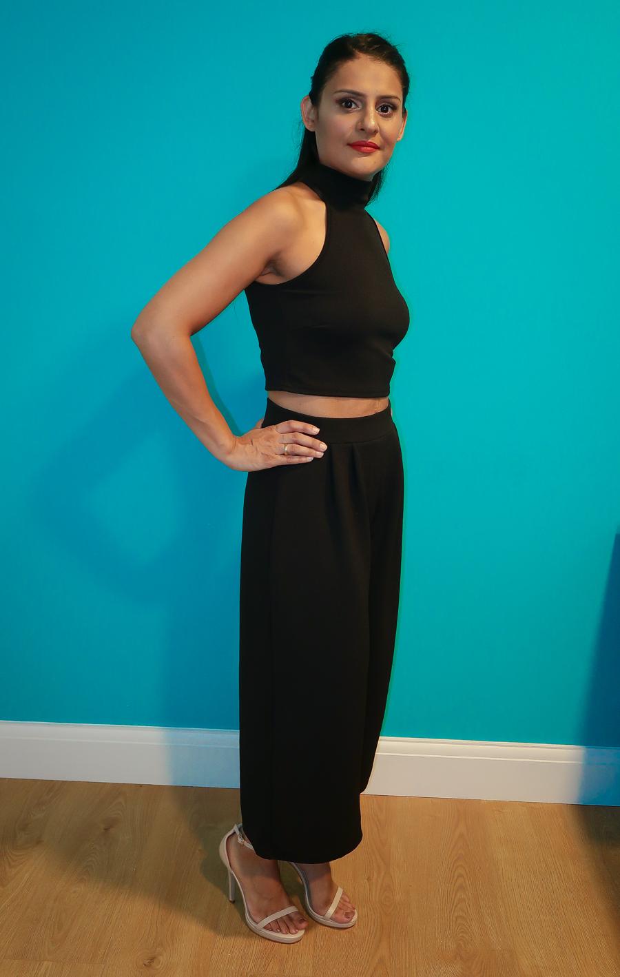 Summer Season - Black Two-Piece Culottes Set