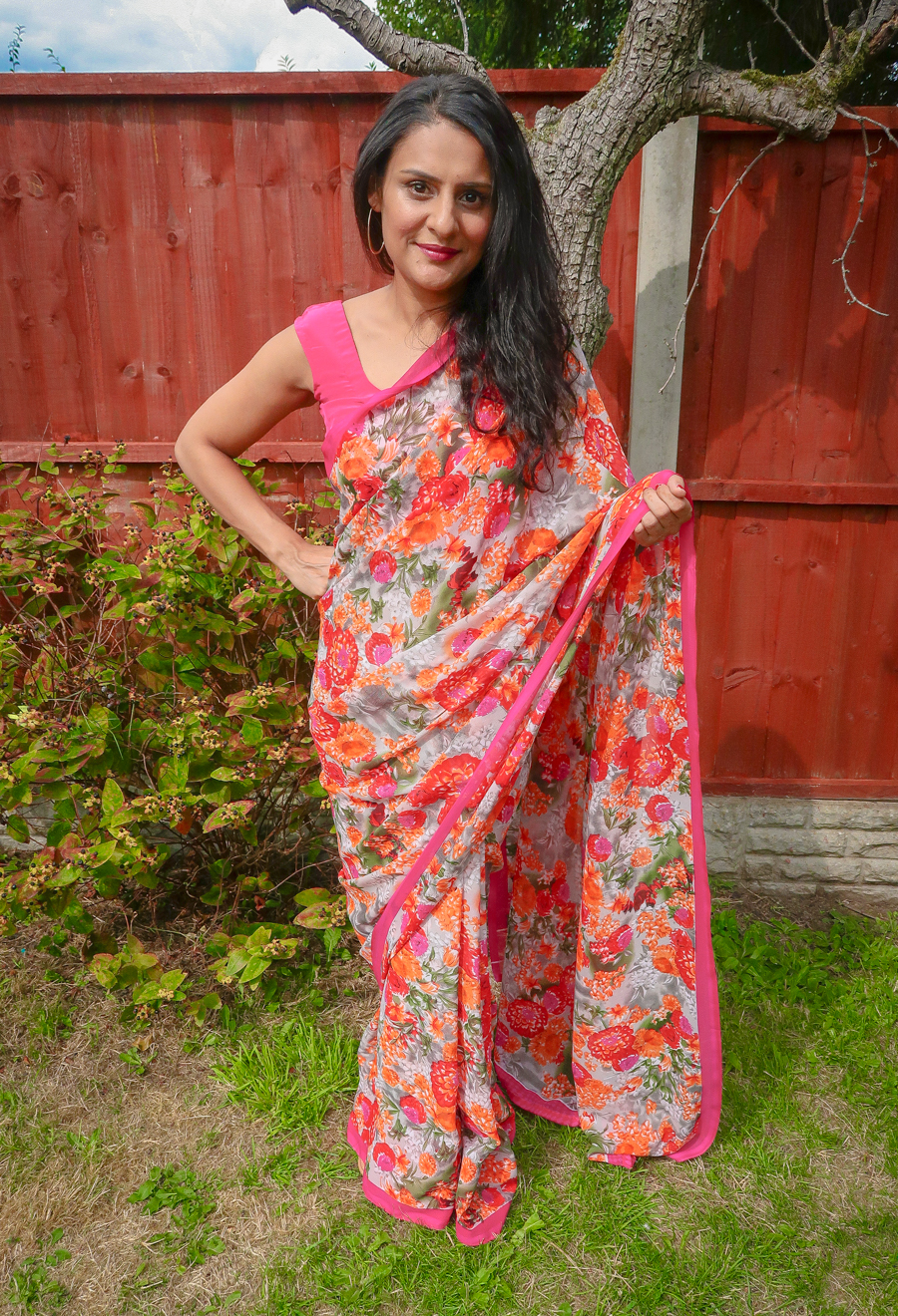 What I Wore - Hot Pink Floral Saree