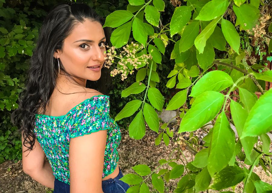 Summer Season - Green Bardot Top & Denim Culottes