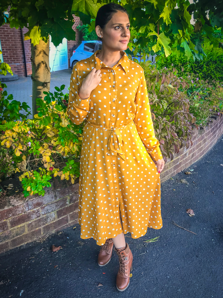 Out In The Wild - Mustard Shirt Dress