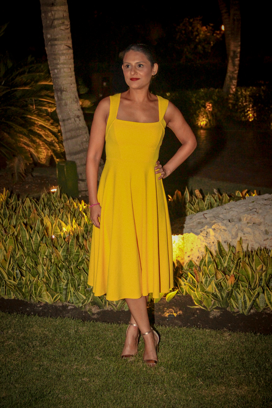 Time Out - Me in a yellow dress, ready for dinner
