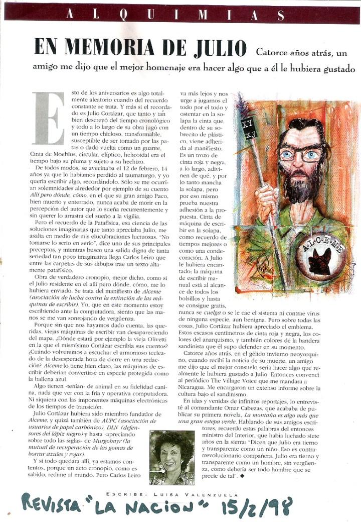 Nota de Luisa Valenzuela sobre Cortázar (con referencia a ALCEME)