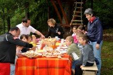 la Colazione del boscaiolo al Tree village. Dolomiti del Friuli, Claut