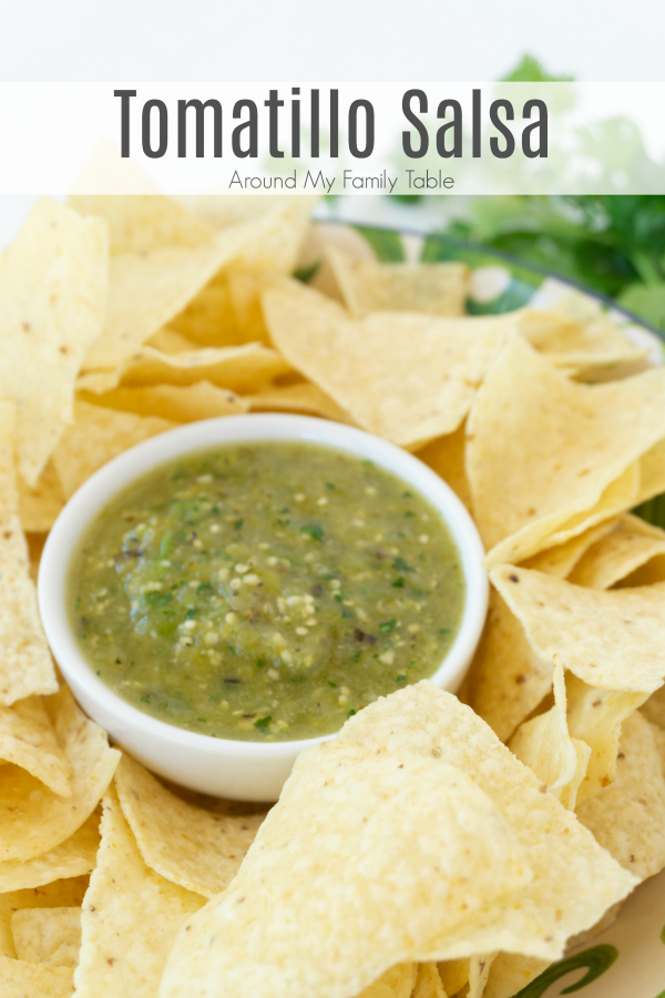 This Tomatillo Salsa is such a tasty alternative to traditional salsa.  It's a little sweet and a little spicy and absolutely perfect. It's great by itself with just some chips, but it would be great as a green enchilada sauce as well.