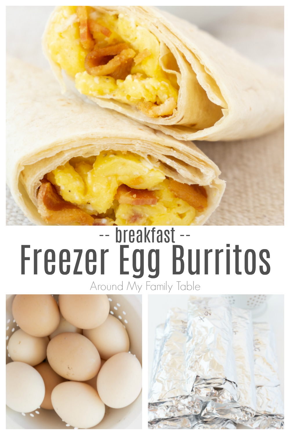 Freezer breakfast burritos are an easy meal prep idea for busy mornings. The recipe comes together quickly and they freeze beautifully. Everyone who tries the scrambled egg burritos loves them! via @slingmama