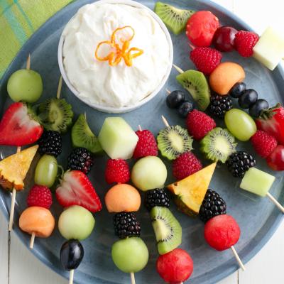 Fruit Kabobs and Fruit Dip