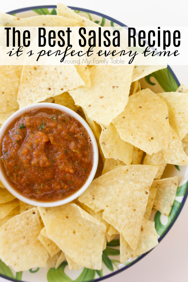 titled photo (and shown): The Best Salsa Recipe (on a tray with tortilla chips)