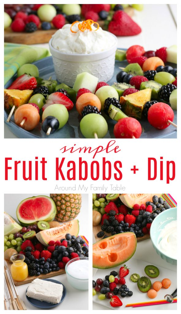 Fruit Kabobs and fruit dip collage with ingredients laid out and kabobs/dip for serving