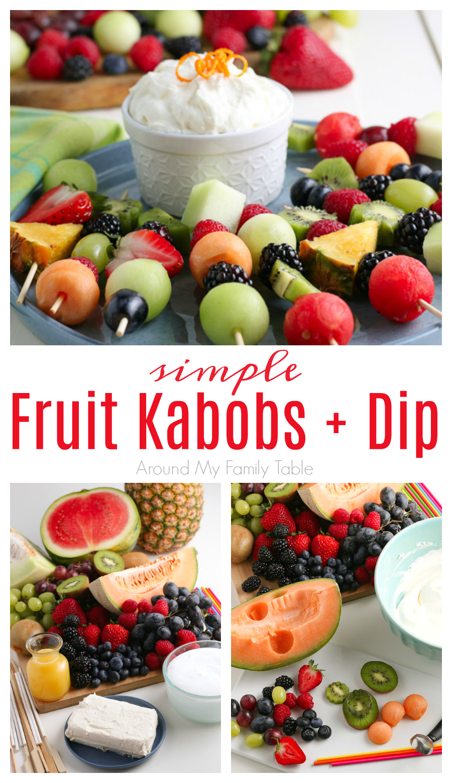 This simple snack of Fruit Kabobs and fruit dip is such a fun and easy summer time (or anytime treat). They are great for snacks, desserts, party appetizers, and more. via @slingmama
