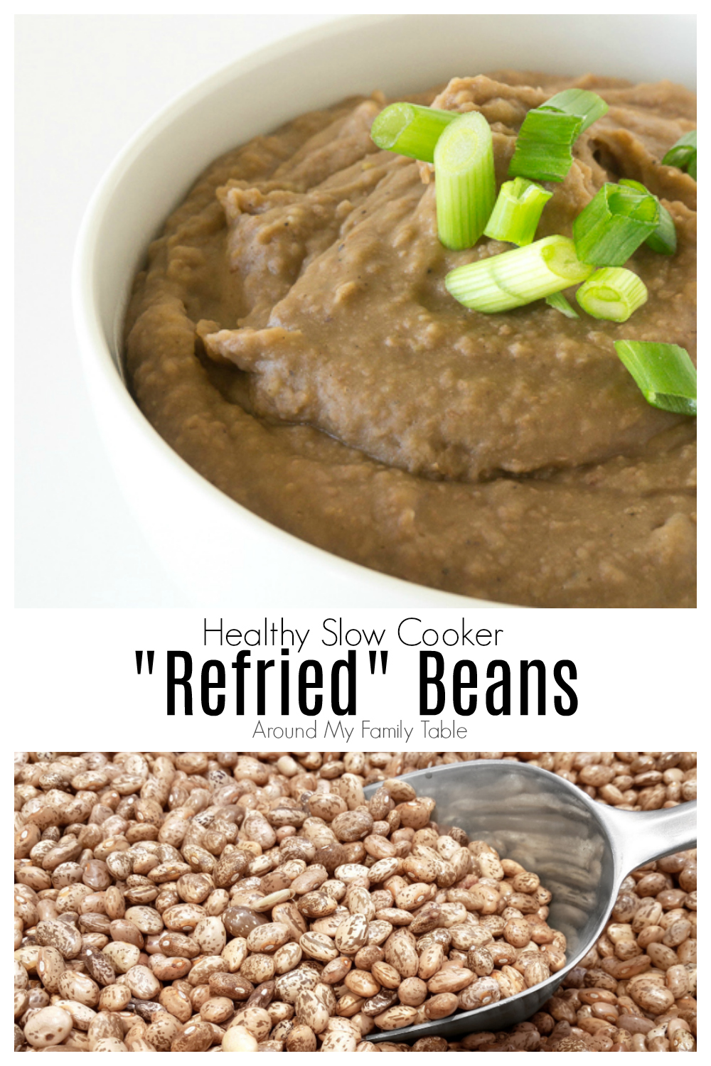 This refried beans recipe is easy to make in your crockpot or pressure cooker! It produces creamy smooth beans that can be used as a side dish, or added to tacos, burritos, and other Mexican slow cooker recipes. #refriedbeans #pintobeans #slowocooker #crockpot #instantpot #pressurecooker #mexicanfood #vegetarian
