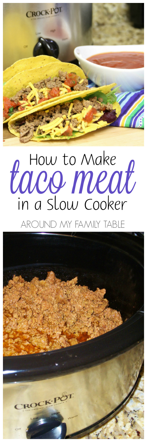 photo collage of slow cooker taco meat