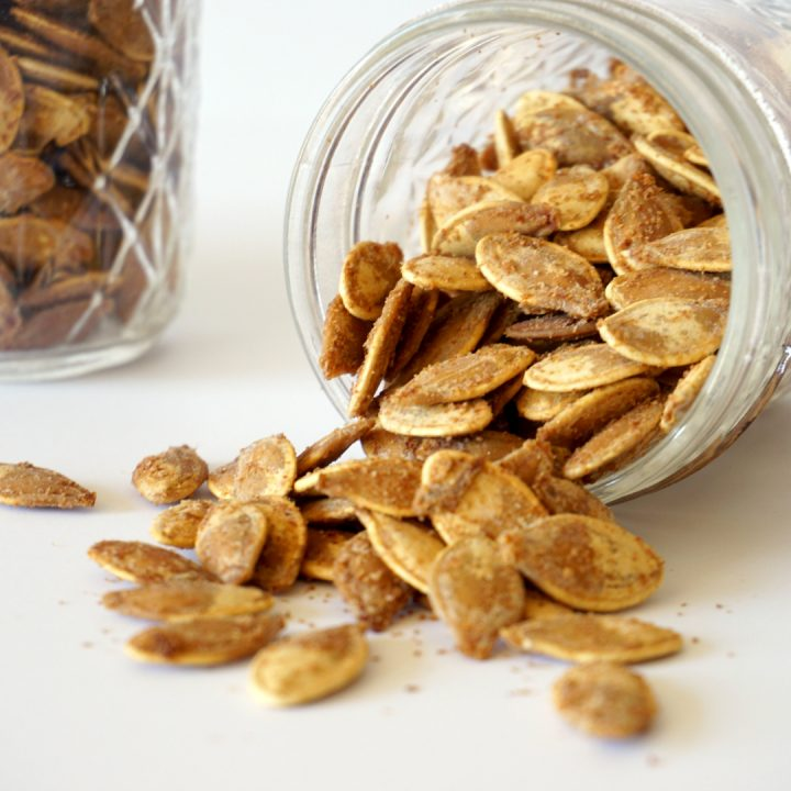 You'll love this spicy take on traditional roasted pumpkin seeds in my Roasted Spiced Pumpkin Seeds recipe. It's a family favorite!